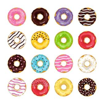 Set di ciambelle colorate di cartone animato glassa al cioccolato ricoperte di dolci fastfood rosa dessert