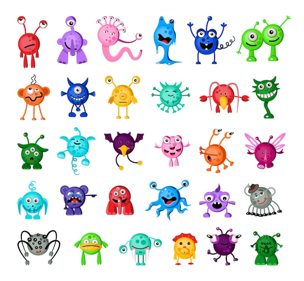 Set di mostri colorati dei cartoni animati
