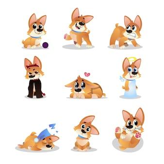 Set di cartone animato corgi. cagnolino divertente in diverse azioni. camminare, chiedersi, dormire, ringhiare, giocare, piangere, angelo e male. animale domestico. design piatto