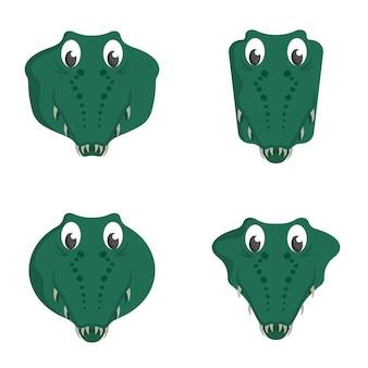 Set di coccodrilli del fumetto. diverse forme di teste di animali. Vettore Premium