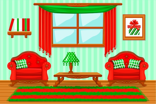 Set cartoon imbottito rosso e mobili verdi, soggiorno
