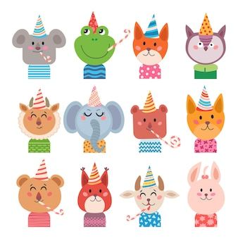 Set di simpatici animali dei cartoni animati per baby card e invito