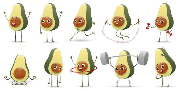 Set di simpatici personaggi dei cartoni animati di avocado