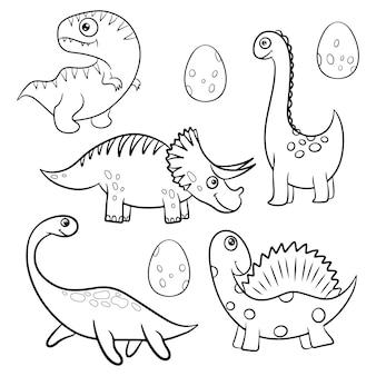 Set di dinosauri dei cartoni animati per la colorazione. illustrazione vettoriale in bianco e nero. gioco educativo per bambini. stile cartone animato piatto.