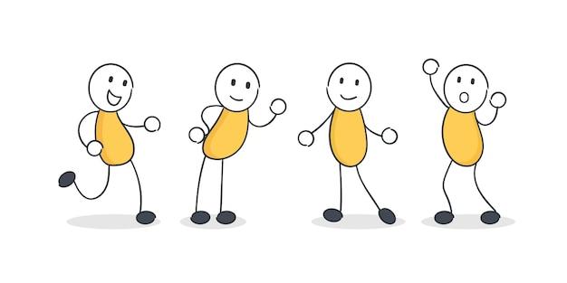 Set di cartoon doodle figura. gente del fumetto in pose diverse.
