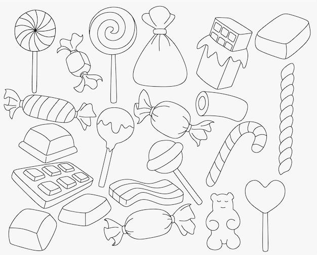 Set di caramelle e dolci a forma di scarabocchio dei cartoni animati