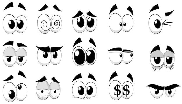 Set di occhi del fumetto, isolati