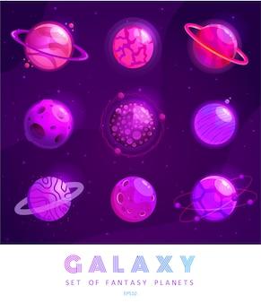 Set di pianeti fantasy cartone animato. universo colorato. progettazione del gioco per il gioco della galassia dell'interfaccia utente.