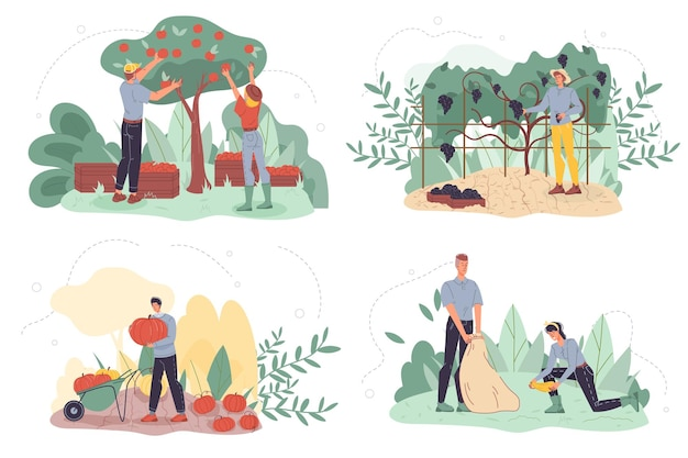 Set di personaggi piatto contadino del fumetto raccolta