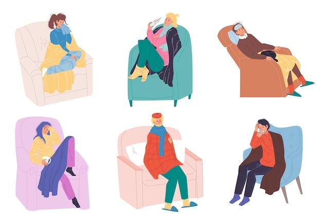 Set di personaggi paziente piatto dei cartoni animati