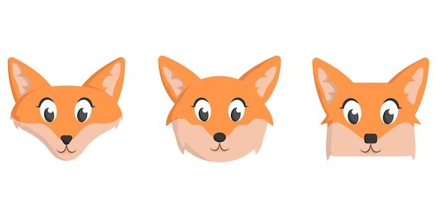 Set di volpi dei cartoni animati. diverse forme di facce di animali.
