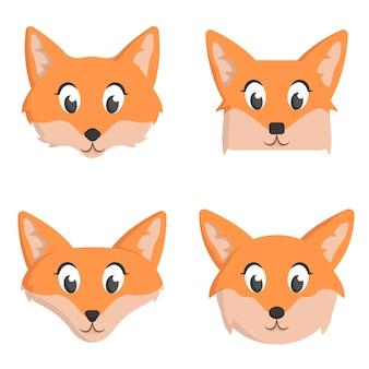 Set di volpi del fumetto isolato su bianco
