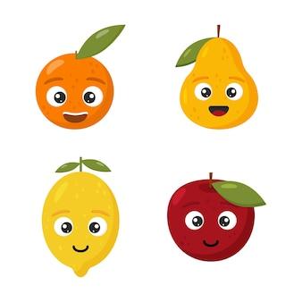 Metta la frutta del fumetto arancia e pera della mela del limone sveglio felice per i bambini isolati su fondo bianco