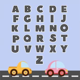 Set di alfabeti inglesi con differenza divertente dei cartoni animati con lettere maiuscole per l'istruzione dei bambini con il concetto di traffico
