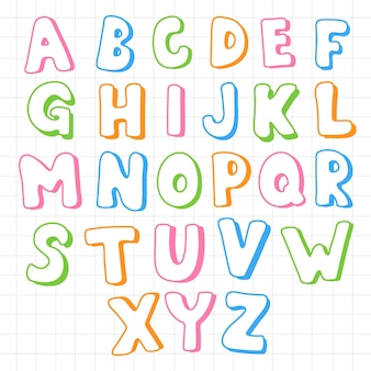 Set di alfabeti inglesi di differenza divertente del fumetto con lettere maiuscole per l'istruzione dei bambini