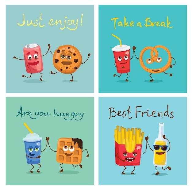 Set di cartoni animati divertenti amici fast food e frutta in stile piatto