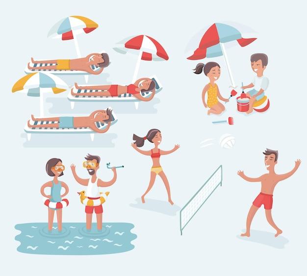 Serie di cartoni animati illustrazione della scena di persone diverse riposano sulla spiaggia estiva