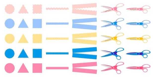 Serie di illustrazioni del fumetto con diversi tipi di forbici bordo decorativo su priorità bassa bianca.