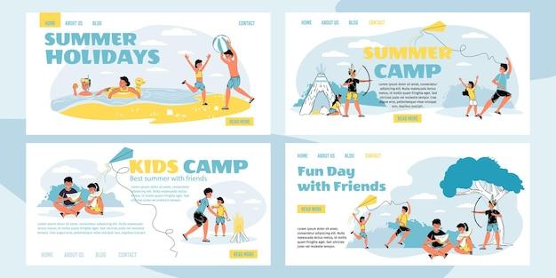 Set di personaggi dei cartoni animati per bambini che trascorrono del tempo nel campo estivo