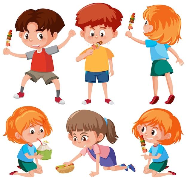 Set di personaggi dei cartoni animati per bambini in posa diversa