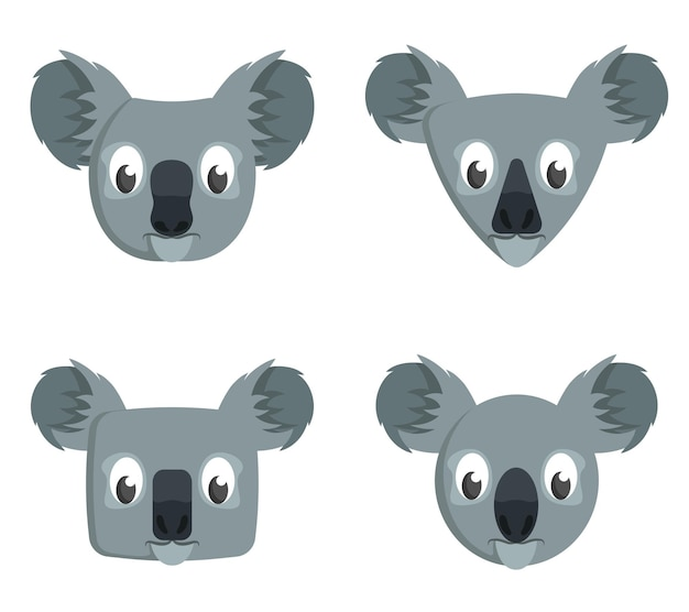 Set di koala del fumetto. diverse forme di teste di animali.