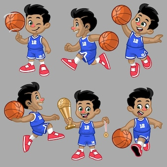 Set di cartoni animati del ragazzino del giocatore di basket