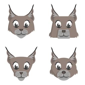 Set di lince dei cartoni animati. diverse forme di facce di animali.