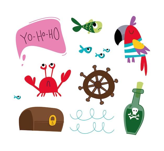 Set di elementi marini dei cartoni animati per arredamento granchio pesce volante pappagallo bottiglia di rum