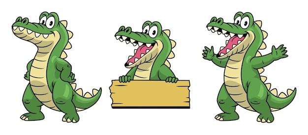 Set di mascotte dei cartoni animati del personaggio di coccodrillo