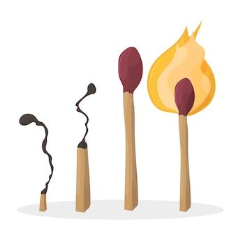 Una serie di fiammiferi dei cartoni animati. fiammifero bruciato. fiammifero bruciato. vettore
