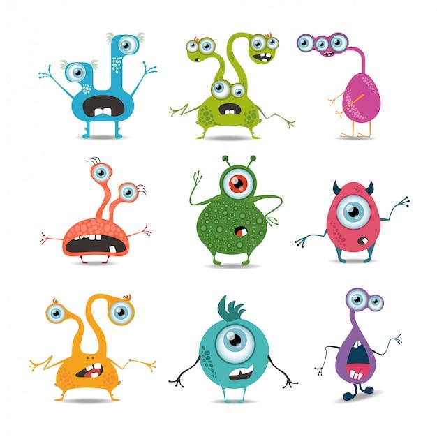 Set di mostri dei cartoni animati.