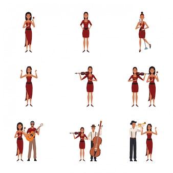 Set di musicisti dei cartoni animati donne e uomini con strumenti