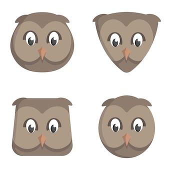 Set di gufi del fumetto. diverse forme di teste di animali.