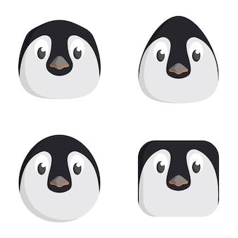Set di pinguini del fumetto isolato su bianco