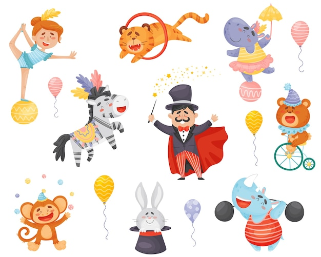 Serie di cartoni animati che eseguono artisti circensi