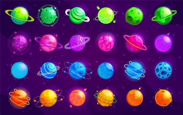 Set di pianeti dei cartoni animati. insieme variopinto di oggetti isolati. spazio sullo sfondo. universo colorato. design del gioco. pianeti spaziali fantasy per il gioco della galassia.