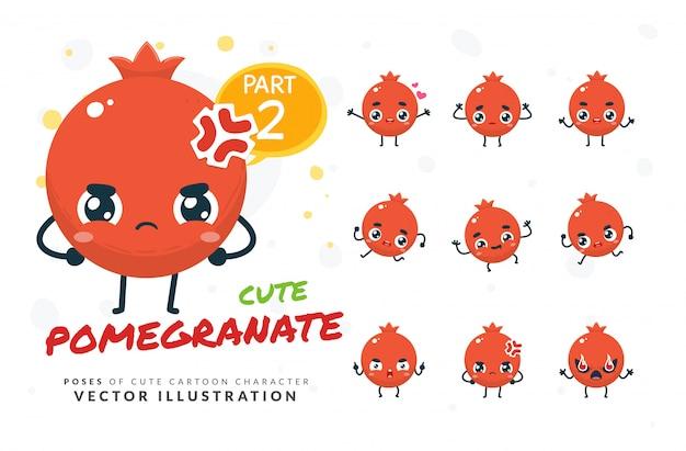 Set di pose di cartone animato di melograno.