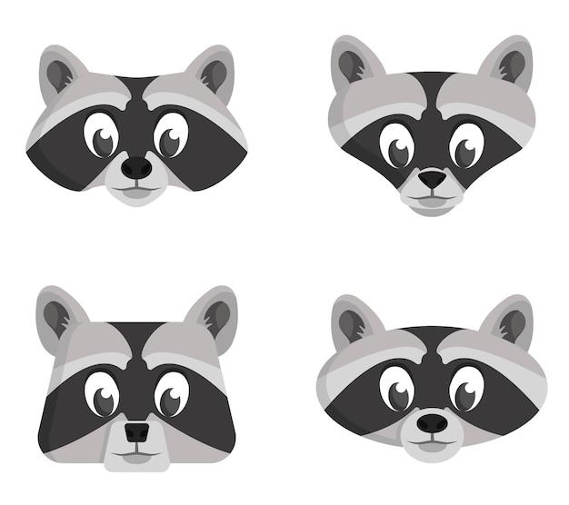 Set di procioni dei cartoni animati. diverse forme di facce di animali.