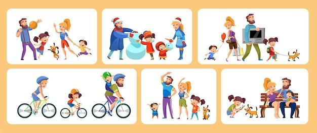 Set di scene di cartoni animati, vacanze attive in famiglia, genitori con bambini in varie attività.