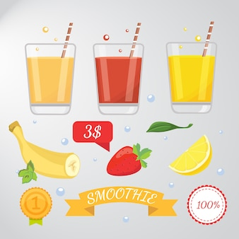 Set di cartoon frullato o succo di frutta, illustrazione