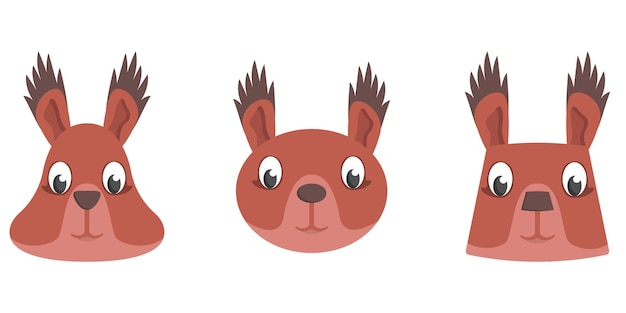 Set di scoiattoli del fumetto. diverse forme di facce di animali.