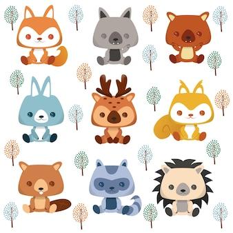 Set di adesivi dei cartoni animati e avatar emoji di tropicale