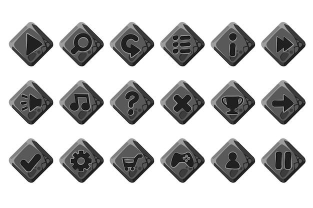 Set di pulsanti di pietra del fumetto per il menu di gioco. grigio isolato per l'interfaccia.