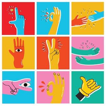 Set di mani in stile cartone animato con segni di amicizia ok, cool. illustrazione alla moda di vettore disegnato a mano. design piatto.