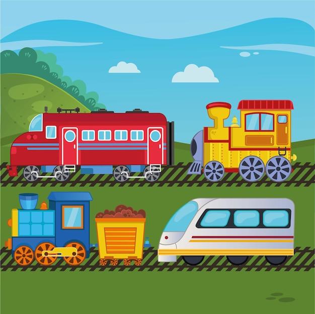 Una serie di illustrazioni vettoriali del treno dei cartoni animati