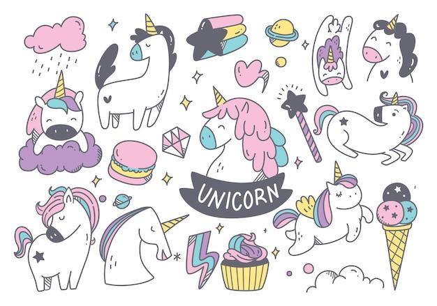 Set di doodle di unicorno del fumetto con altro oggetto carino