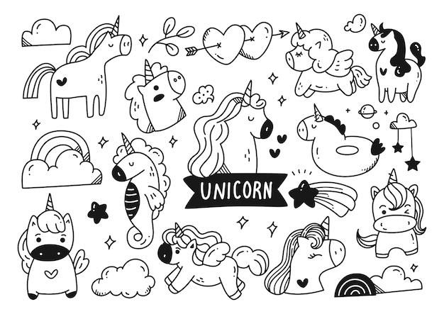 Set di doodle di unicorno del fumetto