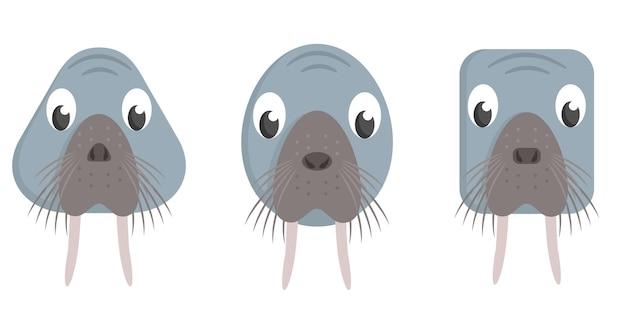 Set di trichechi del fumetto. diverse forme di facce di animali.