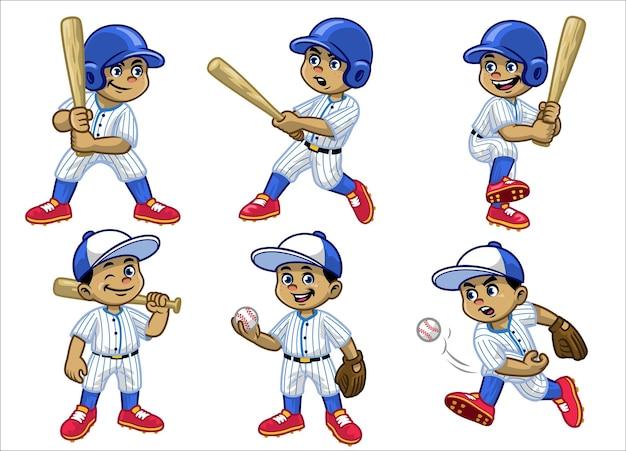 Impostare il fumetto del giocatore di baseball ragazzo bianco