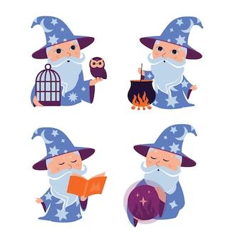 Il set del mago dei cartoni animati i personaggi magici della collezione sono buoni per i disegni felici del giorno di halloween